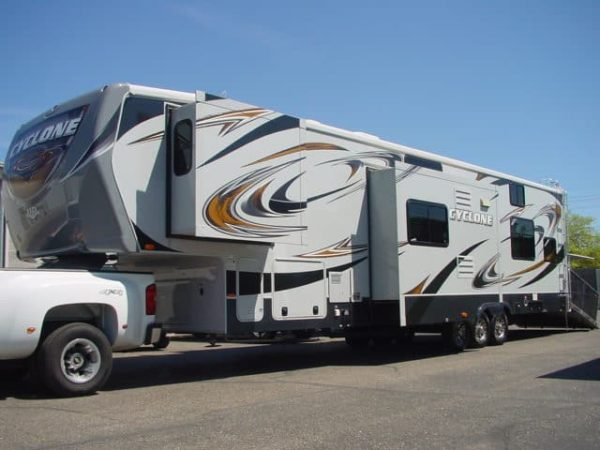 Cyclone 42' Fifth Wheel Toy Hauler for rent - RV rentals Phoenix AZ - Going Places RV